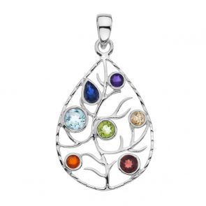 Sterling Silver and Mixed Stone Leaf Pendant