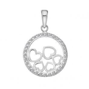 Sterling Silver and Cubic Zirconia Tumbling Hearts Pendant
