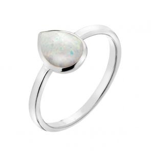 Sterling Silver and White Opal Simple Teardrop Ring