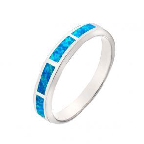 Sterling Silver Inlaid Blue Opal Band Ring