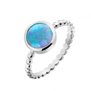 Sterling Silver and Blue Opal Bobble Band Ring