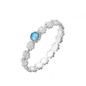 Sterling Silver and Blue Opal Daisy Chain Ring