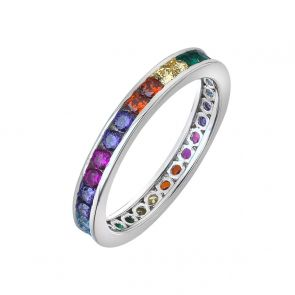 Sterling Silver and Cubic Zirconia Rainbow Band Ring