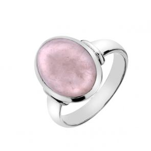 Sterling Silver and Oval Rose Quartz Ring
