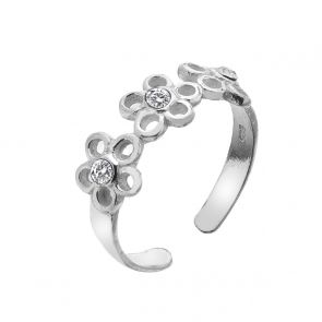 Sterling Silver and Cubic Zirconia Triple Daisy Toe Ring