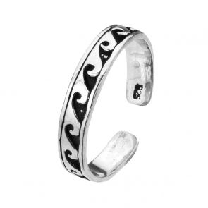 Sterling Silver Oxidised Wave Toe Ring