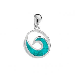 Sterling Silver and Crushed Turquoise Ocean Wave Pendant