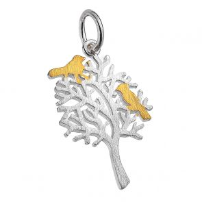 Gold Plated Birds in Tree Pendant