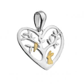 Sterling Silver Tree with Bird and Rabbit Pendant