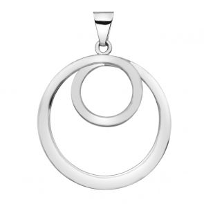 Sterling Silver Statement Double Circle Pendant