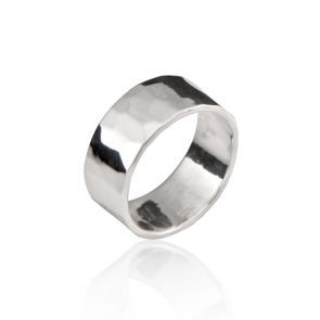 8mm Hammered Sterling Silver Band Ring