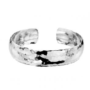 Sterling Silver Hammered Convex Cuff
