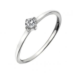 Sterling Silver and Cubic Zirconia Teeny Solitaire Ring