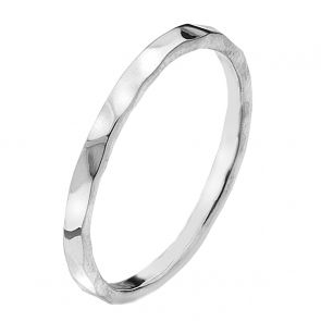 Sterling Silver Narrow Hammered Band