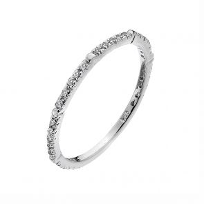 Sterling Silver and Cubic Zirconia Narrow Band Ring