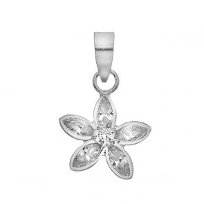Sterling Silver and Cubic Zirconia Flower Pendant