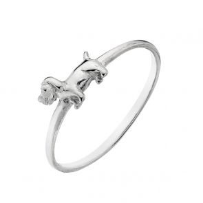 Sterling Silver Tiny Sausage Dog Ring