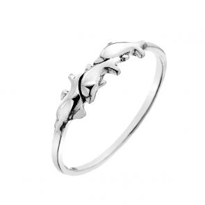 Sterling Silver Mini Dolphins Ring
