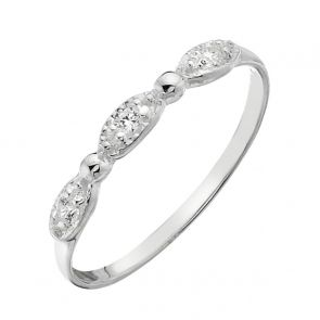 Sterling Silver and Cubic Zirconia 3 Stone Sweetie Ring