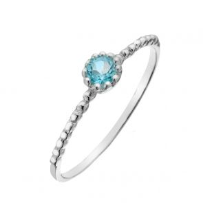 Sterling Silver and Blue Topaz Mini Solitaire Ring