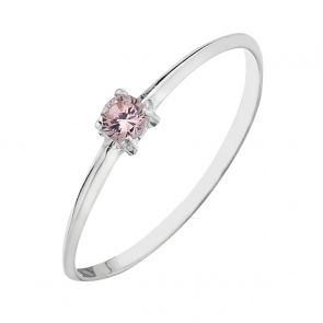 Sterling Silver Tiny Pink Solitaire Ring