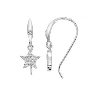 Sterling Silver and Cubic Zirconia Pretty Star Drop Earrings