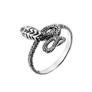 Sterling Silver Small Oxidised Snake Ring
