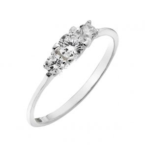 Sterling Silver and Cubic Zirconia Tiny Triple Solitaire Ring