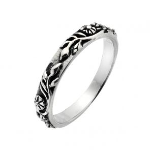 Sterling Silver Oxidised Flower Band Ring