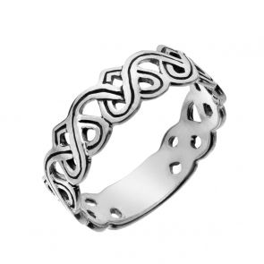 Sterling Silver Oxidised Celtic Heart Band Ring