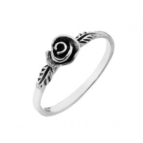 Sterling Silver Oxidised Rose Ring