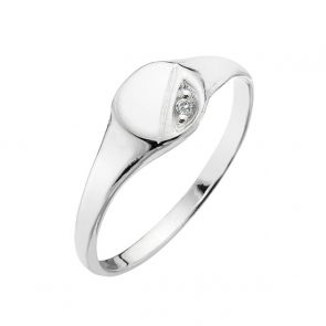 Sterling Silver and Cubic Zirconia Mini Signet Ring