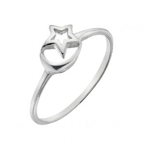 Sterling Silver Cut Out Moon and Star Ring