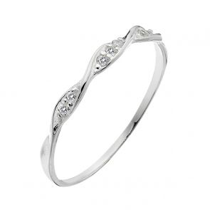 Sterling Silver and Cubic Zirconia Ultra-Fine Twist Ring