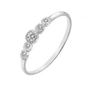 Sterling Silver and Cubic Zirconia 5 Stone Mini Ring