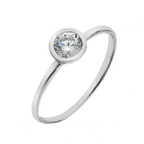Cubic Zirconia and Sterling Silver Stacking Ring
