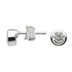 Sterling Silver Surround Cubic Zirconia 4mm Studs